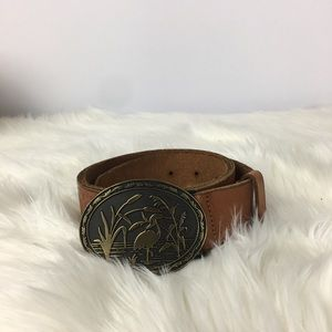 Gap 1969 Tooled Leather Heron Buckle Belt Size M